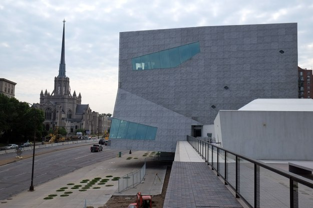 the Herzog & De Meuron face is about to devour that strange church.