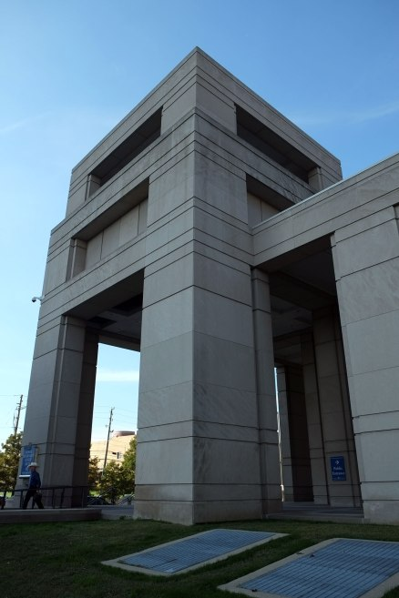 a portico on a state office building, remarkably overscaled, ponderous and pointless