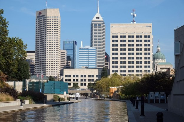 the skyline as seen from the canal to the west