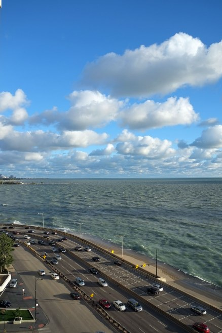 the natural elements of Chicago: sky, water, and traffic