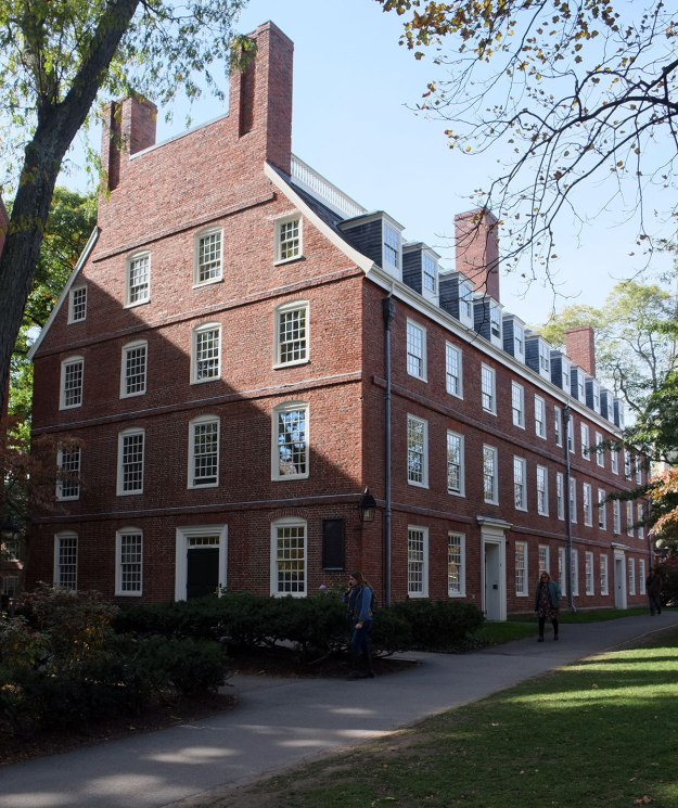 Massachusetts Hall, the oldest survivor on campus, from 1720.